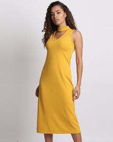 Utopia Choker Bodycon Dress Mustard