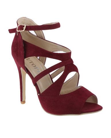 Caged Strappy High Heel Sandals Dark Red