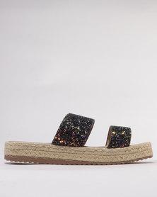 Utopia Glitter Espadrille Sandals Black