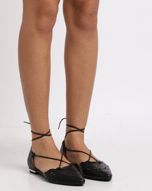 Utopia Tie Up Pointy Sandals Black