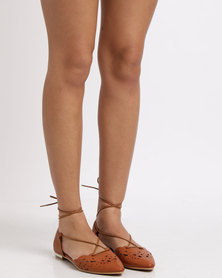 Utopia Tie Up Pointy Sandals Tan