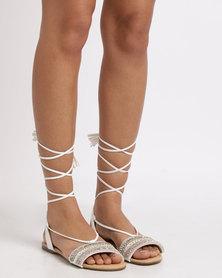 Utopia Tribal Tie Up Sandals White