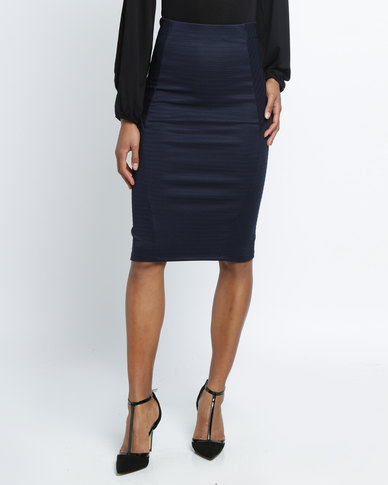 Utopia Ribbed Ponti Pencil Skirt Navy