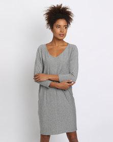 Utopia Melange Knit Tunic Dress Grey