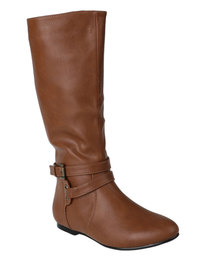 Utopia Ankle Strap Knee High Boots Brown