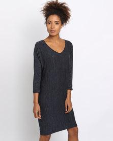 Utopia Melange Knit Tunic Dress Navy