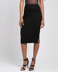 Utopia Knit Pencil Skirt With Knot Detail Black