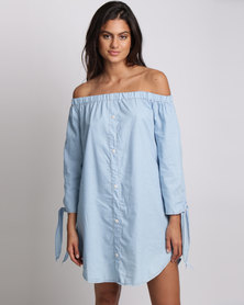 Utopia Chambric Off Shoulder Tunic Dress Light Blue