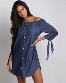 Utopia Chambric Off Shoulder Tunic Dress Dark Wash