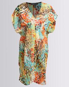 Utopia Georgette Printed Swimwear Cover Up Orange