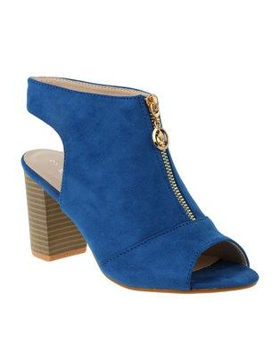Utopia Vamp Zip Block Heel Blue