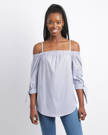 Utopia Stripe Bardot Shirt Top Navy/White