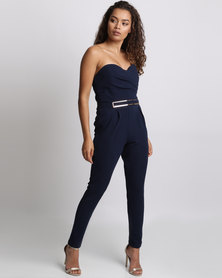 Utopia Boobtube Jumpsuit With Gold Belt Navy