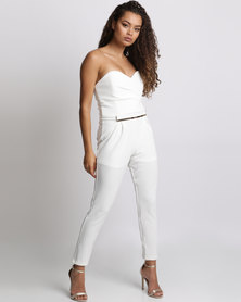 Utopia Boobtube Jumpsuit With Gold Belt Ivory