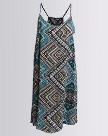 Utopia Diamond Print Viscose Tunic Dress Multi