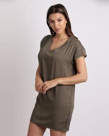 Utopia Viscose Tunic Dress Olive