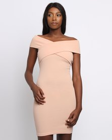 Utopia Off The Shoulder Bodycon Dress Nude