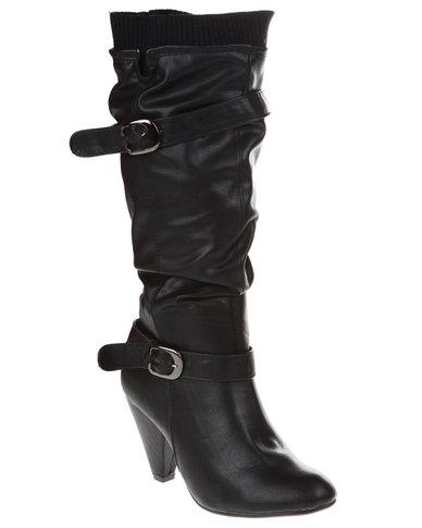 Utopia Buckle Collar Boots Black