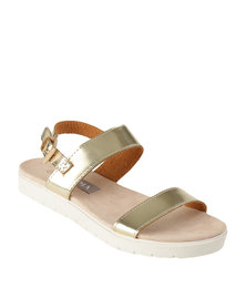 Utopia Double Strap Flat Sandal Gold