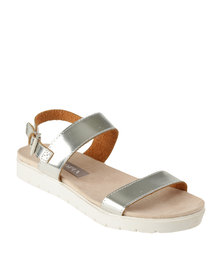 Utopia Double Strap Flat Sandal Silver