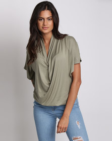 Utopia Batwing Knit Top Olive