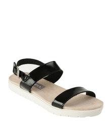 Utopia Double Strap Flat Sandal Black