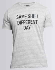 Utopia 'Same Shirt' Tee With Print  Grey Melange