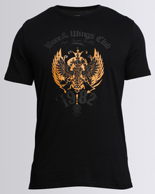 Utopia Tee With Print Wings  Black/Gold