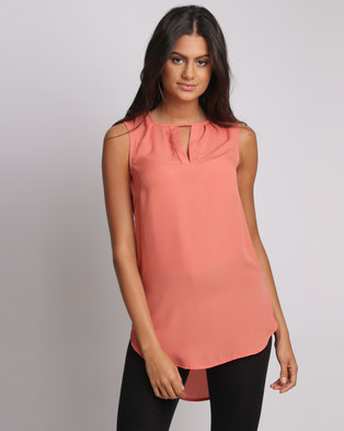 Utopia Henley Blouse Coral