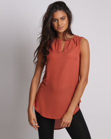 Utopia Henley Blouse Rust