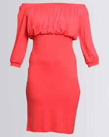 Utopia Off The Shoulder Sheath Dress Coral
