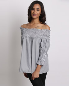Utopia Striped Off-The-Shoulder Top Grey