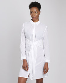 Utopia Voile Long Shirt With Tie Belt White