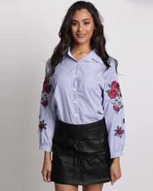 Utopia Shirt With Embroidery Blue