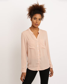 Utopia Henley Blouse With Lace Inset Nude