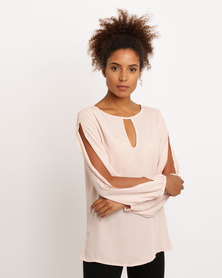 Utopia Double Georgette Split Sleeve Top Dusty Pink