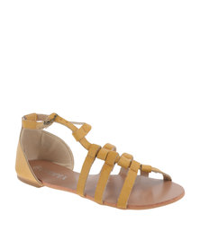 Utopia Cross Strappy Flat Sandal Beige