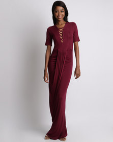 Utopia Grecian Dress with Lace up Detail Burgundy