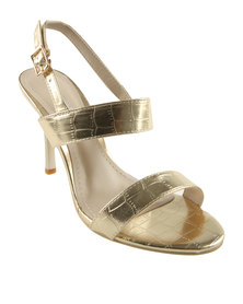 Utopia Croco Heel Sandals Gold