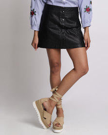 Utopia PU Button-Front Skirt Black