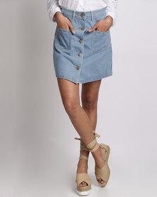 Utopia Button-Front Denim Skirt Light Blue