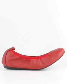 Utopia Full Leather Stretch Pump Red