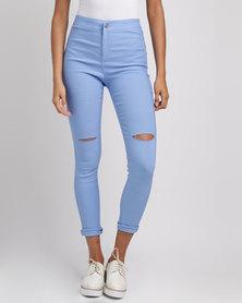 Utopia Ripped Super Skinny Jeans Blue