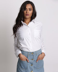 Utopia Shirt With Lace Sleeves White