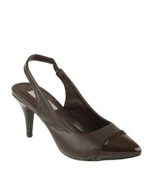 Utopia Slingback Pointy Court Shoes Brown