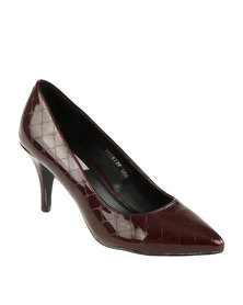 Utopia Pointy Kitten Heels Burgundy