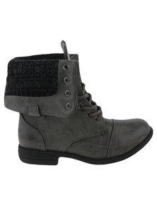 Utopia Foldover Combat Boots Grey