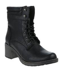 Utopia Lace Up Military Boots Black