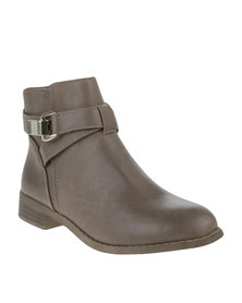 Utopia Buckle Flat Ankle Boots Tan