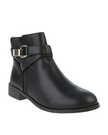 Utopia Buckle Flat Ankle Boots Black